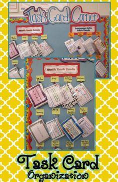 Teaching With a Mountain View: Task Card Corner Classroom Organisation, School Organization, Future Classroom, School Classroom, Classroom Management, Classroom Ideas, Organizing, Classroom Pictures, Classroom Tools
