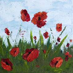 How To Paint Poppy Flowers with Acrylic Paint and a Palette Knife, Simple…