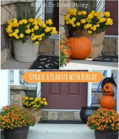 How to update a planter with burlap, burlap wrapped planter - Whats Ur Home Story