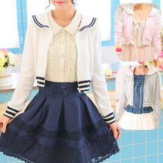 White/Grey/Pink Sailor Collar Embroidery Knitted Sweater Cardigan Coat SP153444