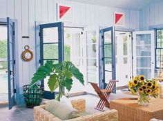 Signal flags over doors and the giant glass fishng globe ~ good touches