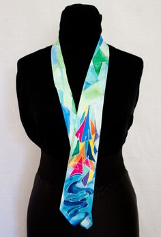 men's tie silk hand-painted inspired by the colors of by InSetArte
