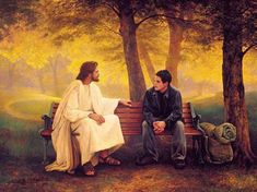 Jesus sitting on the bench having conversation with the young guy.