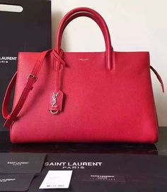 Saint Laurent Medium Cabas RIVE GAUCHE Bag in Red Grained Leather sale at discount rate- USD 422. Free Shipping by courier to your door.  Visit http://www.luxtime.su/