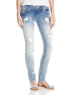 Miss Me Sequin Patchwork Pocket Skinny Jean, Light, 30