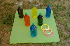 bottle ring game-like colored water in bottles