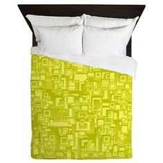 Concentric Yellow Geometric Abstract Art Queen Duvet