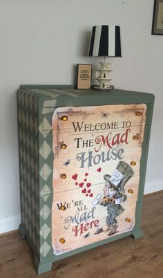 I have to have this this Is so cool ???? #rabbithouses Funky Furniture, Upcycled Furniture, Hand Painted Furniture, Painted Chairs, Furniture Making, Furniture Decor, Furniture Makeover, Furniture Projects, Alice In Wonderland Bedroom