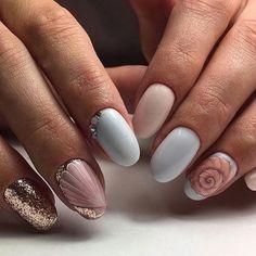 Beautiful nails 2018, Delicate nails, Foil nail art, Nails trends 2018, Painted nail designs, Pink and blue nails, Shell nails, Spring nail art