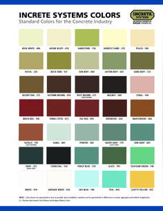 Euclid Chemical's Standard Colors for the Concrete Industry #euclidchemical #increte #concrete #concretecolor