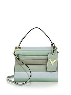 ffc51a3a6a92 Valentino - Striped Leather Top-Handle Bag