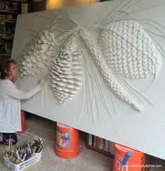 Ellie Ellis, CMS, working her Bas-Relief for the Silver Pines Restaurant in Flagstaff, AZ Plaster Art, Plaster Walls, Wall Sculptures, Sculpture Art, Pintura Graffiti, Mural Art, Art Art, Texture Painting, Oeuvre D'art