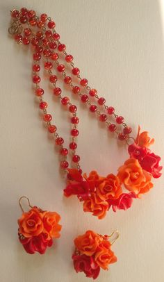 Orange red jewellery Flower necklace Flower earrings by insou, $30.00