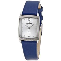 Skagen Denmark Blue Leather Steel Ladies Watch 691SSLN Skagen Watches, Women's Watches, Wrist Watches, Beautiful Watches, Coach Handbags, Stainless Steel Case, Quartz, Blouse, My Style