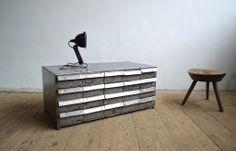 Steel metal cabinet with drawers (artKRAFT Industrial design) Industrial Design Furniture, Furniture Design, Wooden Stools, Cabinet Drawers, Steel Metal, Shelves, The Originals, Storage, Cabinets