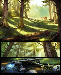 Wordless panels from the newest Fjordson page :> __________________ Fjordson website If you like this comic and would like to see extra material and . The woods Fantasy Art Landscapes, Fantasy Paintings, Landscape Art, Art Paintings, Forrest Illustration, Illustration Art, Conceptual Drawing, Artsy Fartsy, Painting & Drawing