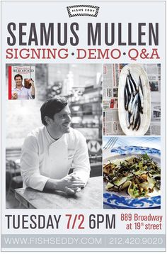 Seamus Mullen is coming to Fishs Eddy tomorrow night at 6pm to do a book signing, a cooking demo and a q all about his take on healthy, delicious cooking! Join us!
