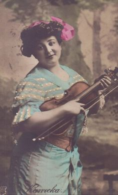Hand Tinted Postcard Woman Violinist with Pink Bow RPPC | eBay