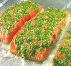 Salmon with Cilantro and Lime - this has good flavor. We BBQ'd it but probably better broiled. -G