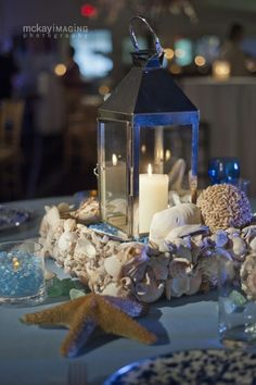 Simple beach centerpiece for Flowerful Events