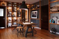 Ford's loft (work table and bookshelves--notice the rocket!)