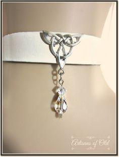 Celtic White Leather Choker Crystal Drop by ArtisansofOld on Etsy