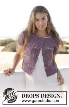 """Crochet DROPS jacket with lace pattern and round yoke in """"Muskat"""". Size: S - XXXL. ~ DROPS Design"""