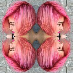 Cherry Blossoms pink bob haircut and pink hair color by Ms. Robinita #hotonbeauty