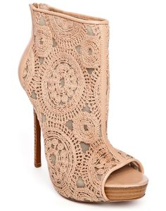 Charles David Empower Lace Peep-Toe Bootie