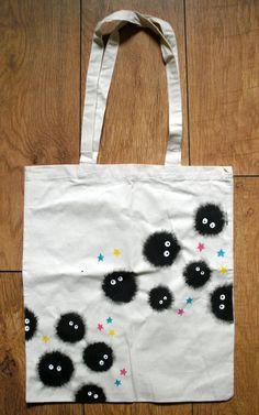Spirited Away Soot Sprite Cotton Tote Bag - Studio Ghibli - Hand Painted. £10.00, via Etsy.