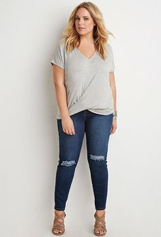 Plus Size Heathered Twist-Front Top