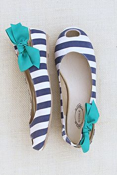Mia Navy Stripe flats. I'm in love with these and that darling bow.