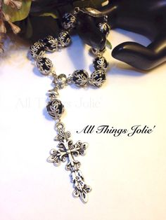Beautiful Black Antique Silver Toned Pocket Rosary on Etsy, $28.99