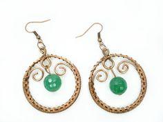 Green earrings copper weaving earrings by MargoHandmadeJewelry