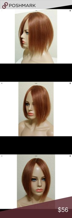 100% human hair auburn/red wiglet/topper #1015 Unworn with tag still attached.  Red, 100% human hair Wiglet.  One basic comb attached.  Can be worn for crown coverage.  Can be trimmed to add bangs.  Wear straight, wavy or curly. Other