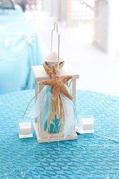 Beach destination wedding decor  Lantern star, starfish decoration, starfish ornament. $12.95, via Etsy.