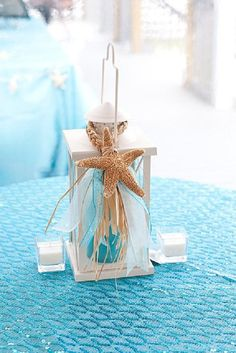 beach lantern starfish raffia candle centerpiece