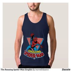The Amazing Spider-Man Graphic Tank Top. Personalize these Classic Marvel character designs and make perfect gifts for any fans. #marvel #comic #gifts #birthday #birthdayparty #birthdaycard #personalize #kids #shopping