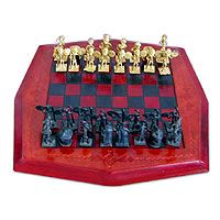 Leather and brass chess set, 'Tribal Warfare' 3rd anniversary gift #anniversarygift