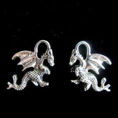 10 Dragon Charms Antique Silver Tone Pendants  21mm x by JWRSupply