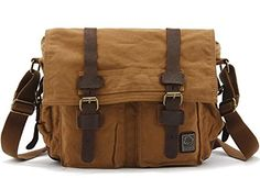 ae0d329b03 Leather Canvas Mens handbag Messenger single shoulder bag Khaki     Find  out more about the great product at the image link.