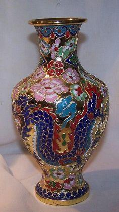 Vintage Cloisonne Vase Enamel Hand Crafted Gold Accented | eBay