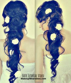 Princess hair inspired,  cascading, side-swept curls, long hairstyle for wedding, homecoming, or prom.  Step-by-step,  hair tutorial video here - http://www.makeupwearables.com/2013/07/hair-tutorial-video-cascading-messy.html