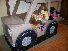 Cardboard Jeep. Link gives some suggestions (Widget Worm)