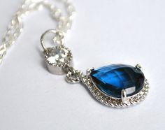 Bridesmaid Sapphire Blue Necklace Briolette Framed Glass Rhinestone, Set of 2, 3, 4, 5, 6, 7, 8, 9, 10, 11, 12 Pendant. $22.99, via Etsy.