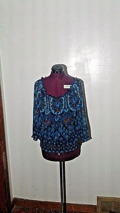 INC International Concepts Top Blouse Sheer Lined Boho Peasant Banded Size Large #INCInternationalConcepts #Blouse