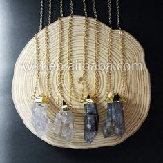 WT-N491 Wholesale Natural smoky quartz necklace with double