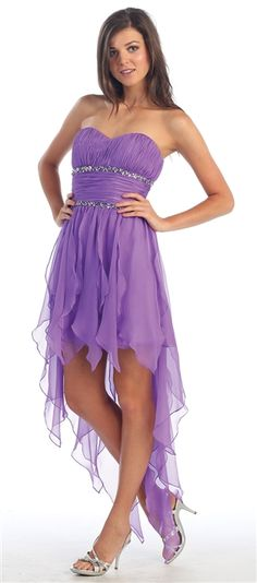 This is a fun and flirty Hi Lo Strapless Dress with a fringe bottom. It has scattered beading under the bust. #HighLowDress www.marlasfashions.com