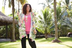 Hello Sunshine! Plus Size New Directions Butterfly Kimono, Lacey Tank, and Soft Track Pants - This trend-right outfit features a classic tank and solid crepe pant with a butterfly kimono that offers just the right amount of extra coverage and style.