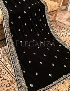 Criss cross Embroidered Velvet Shawl with red flowers Latest Embroidery Designs, Embroidery Suits Design, Velvet Dress Designs, Dress Neck Designs, Embroidery Suits Punjabi, Embroidery Saree, Pakistani Dresses Casual, Pakistani Bridal Dresses, Velvet Shirts
